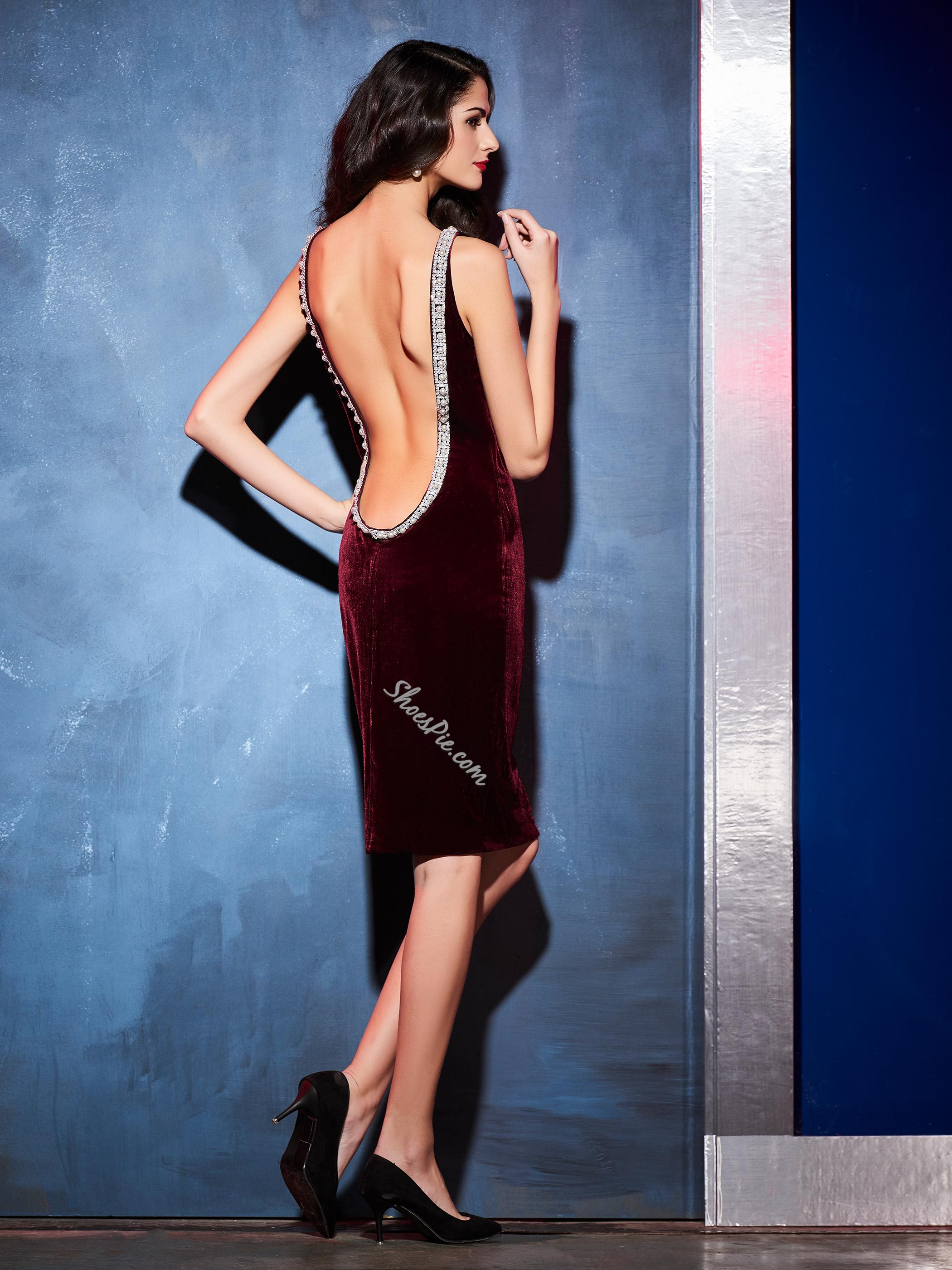 Plain Beading Decorative Backless Bodycon Dress