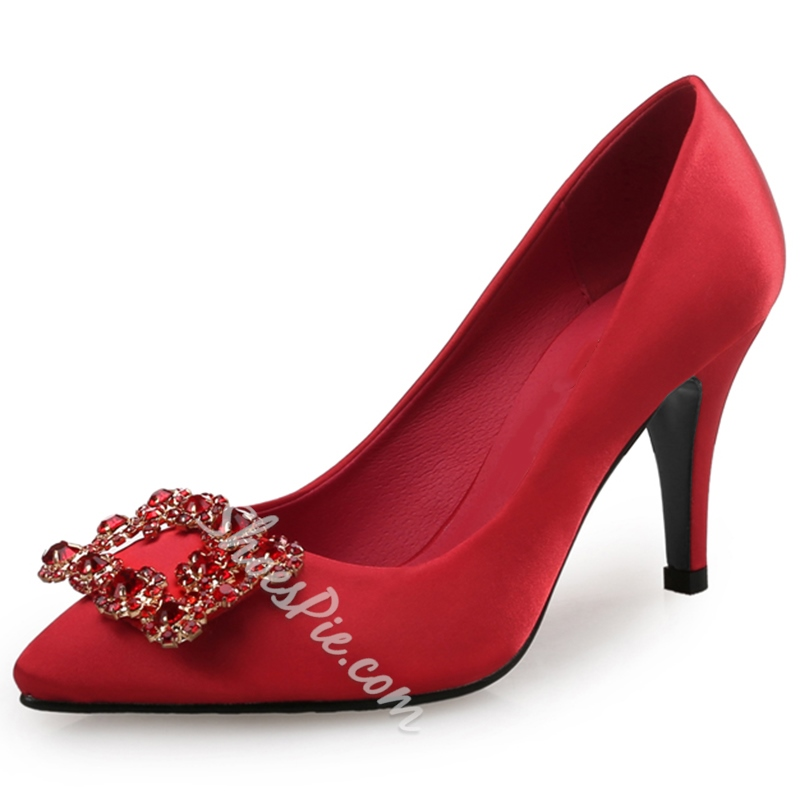 Shoespie Chic Quality Jewelled Kitten Heel Pumps