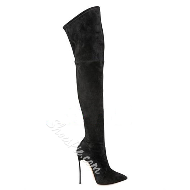 Shoespie Low-key Luxury Black Knee High Stiletto Boots