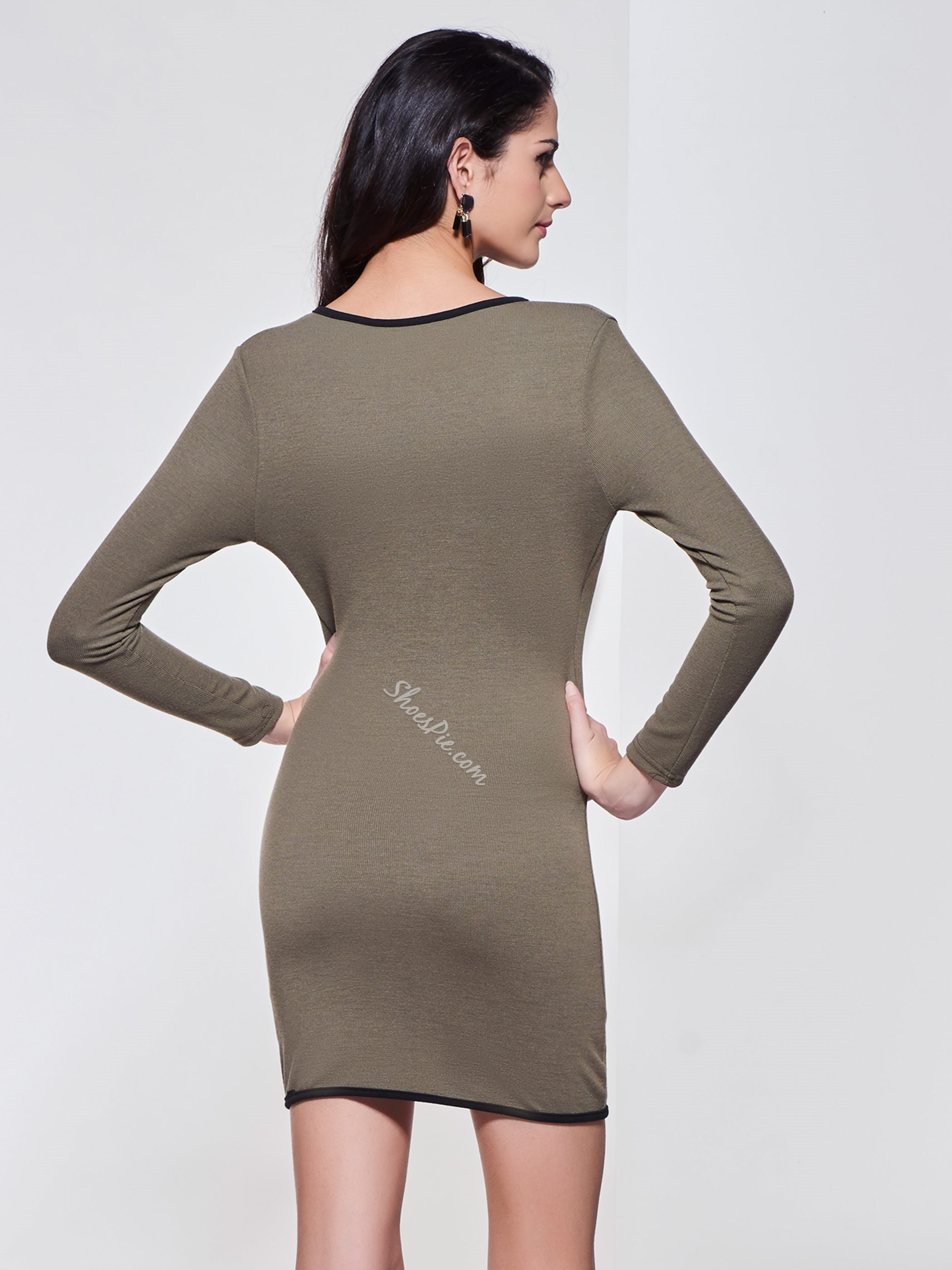 Plain V-Neck Pullover Sweater Dress