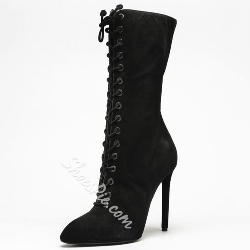 Shoespie Classy Black Pointed Toe Lace Up Stiletto Mid Calf Boots