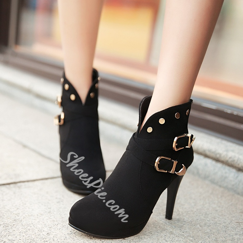 Shoespie Deep V Rivets & Buckle Fashion Booties