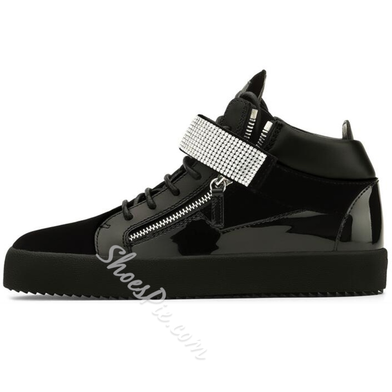 Shoespie Rhinestone Decorated Men's Fashion Sneakers