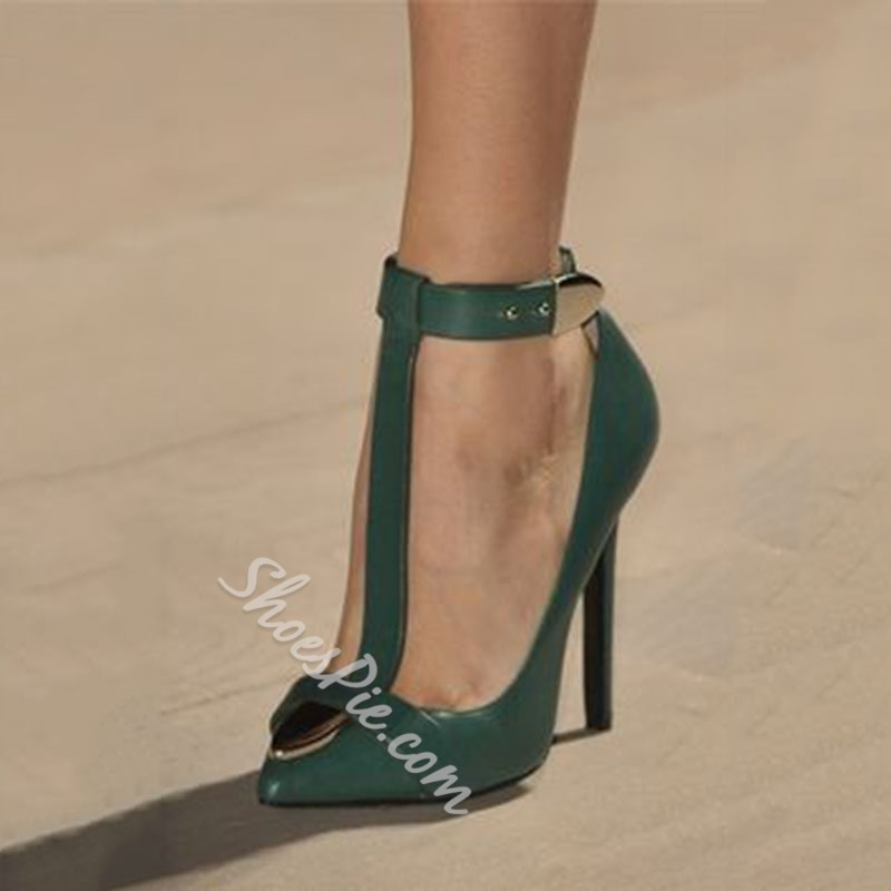 Shoespie Vintage Pointed Toe T Strap Stiletto Heels