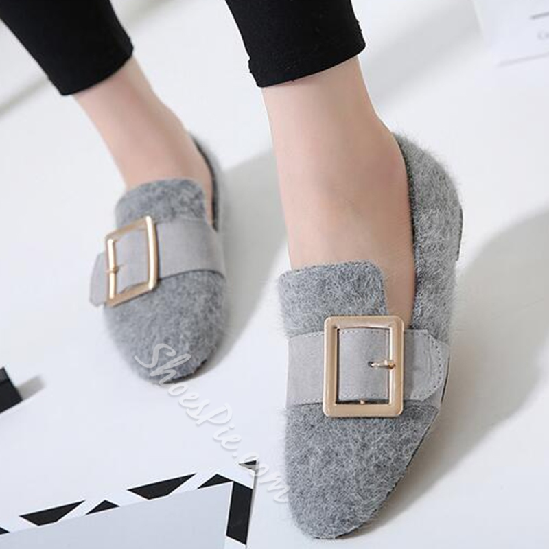 Shoespie Casual Furry Gaint Buckle Loafers