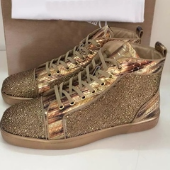 Shoespie Golden Sequined Men's Fashion Sneakers