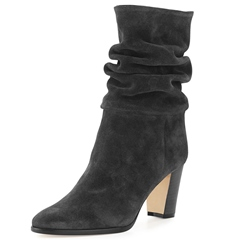 Shoespie Black Gray Chunky Heel Fashion Booties