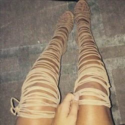 Shoespie Wrap Up Thigh High Sandal Booties