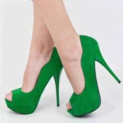 Shoespie Trendy Greenery New Peep Toe Platform Heels