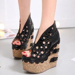 Shoespie Stylish Cut Out Buckle Wedge Heels