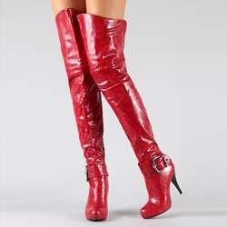 Shoespie Gorgeous Burgundy Buckle Wide Calf Over the Knee Boots