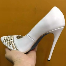 Shoespie White Rivets Cut Out Stiletto Heels