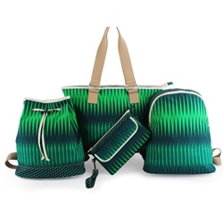 Shoespie Emerald Green Striped Bag Sets