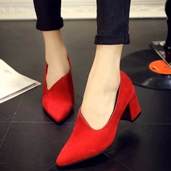 Shoespie Chic Solid Color Block Heel Pumps