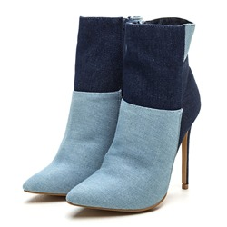 ffa85ee494a Shoespie Trendy Contrast Color Stiletto Heel Denim Boots