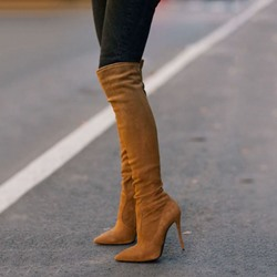 Shoespie Basic Celebrity Solid Brown Knee High Stiletto Boots