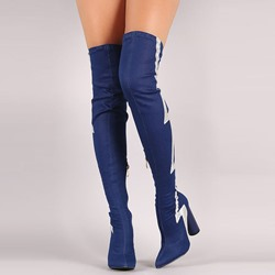 Shoespie Dark Blue Patchwork Chunky Heel Over the Knee Denim Boots
