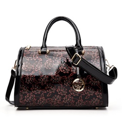 Shoespie Glossy Floral Print Large Handbag