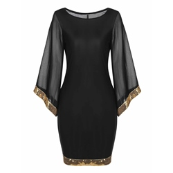Shoespie Round Neck Sequins Bodycon Dress