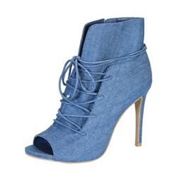 Shoespie Denim Blue Lace Up Street Style Booties