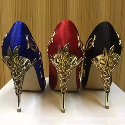 Shoespie Chic Metal Floral Appliqued Stiletto Heels