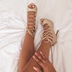 Shoespie Nude Front Lace Up Sandals