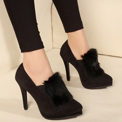 Shoespie Chic Fur Appliqued Stiletto Heels