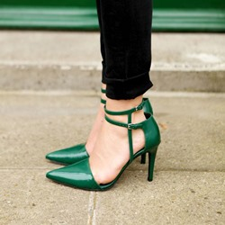 Shoespie Chic Deep Green Ankle Wrap Stiletto heels