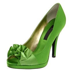 Shoespie Chic Greenery Floral Appliqued Peep Toe Bridal Shoes