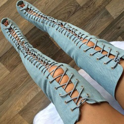 Shoespie Demin Muti Color Lace Up Thigh High Sandal Booties