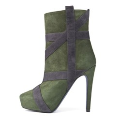 Shoespie Nubuck Ribbon Appliqued Platform Fashion Booties