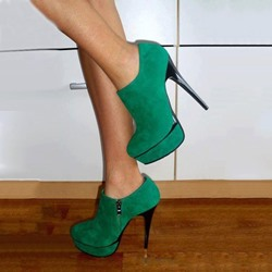 Shoespie Trendy Emerald Green Platform Heels