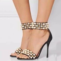 Shoespie Beading Stiletto Heel Sandals