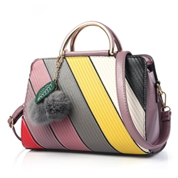 Shoespie Contrast Color Pompom Accented Handbag