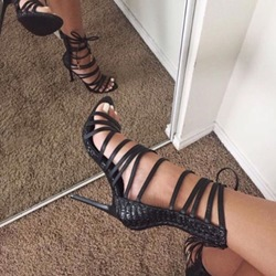 Shoespie Black Embossed Leather Sandals