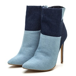 Shoespie Trendy Contrast Color Stiletto Heel Denim Booties