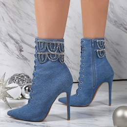 Shoespie Classy Denim Blue Beaded Fashion Booties