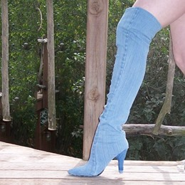 Shoespie Slouchy Mid Heel Over the Knee Denim Boots