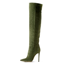 Shoespie Chic Army Green Knee High Stiletto Boots
