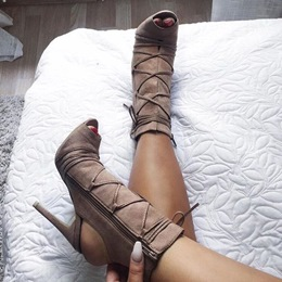 Shoespie Light Coffee Naked Heel Sandal Booties