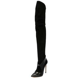 Shoespie Classy Black Pointed Toe Thigh High Boots