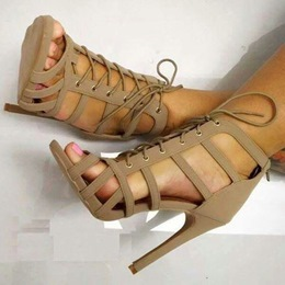 Shoespie Nude Cage Lace Up Sandals