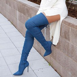 Shoespie Dark Blue Stiletto Heel Over the Knee Denim Boots