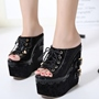 Shoespie Stylish Open Toe Lace Up Wedge Mules