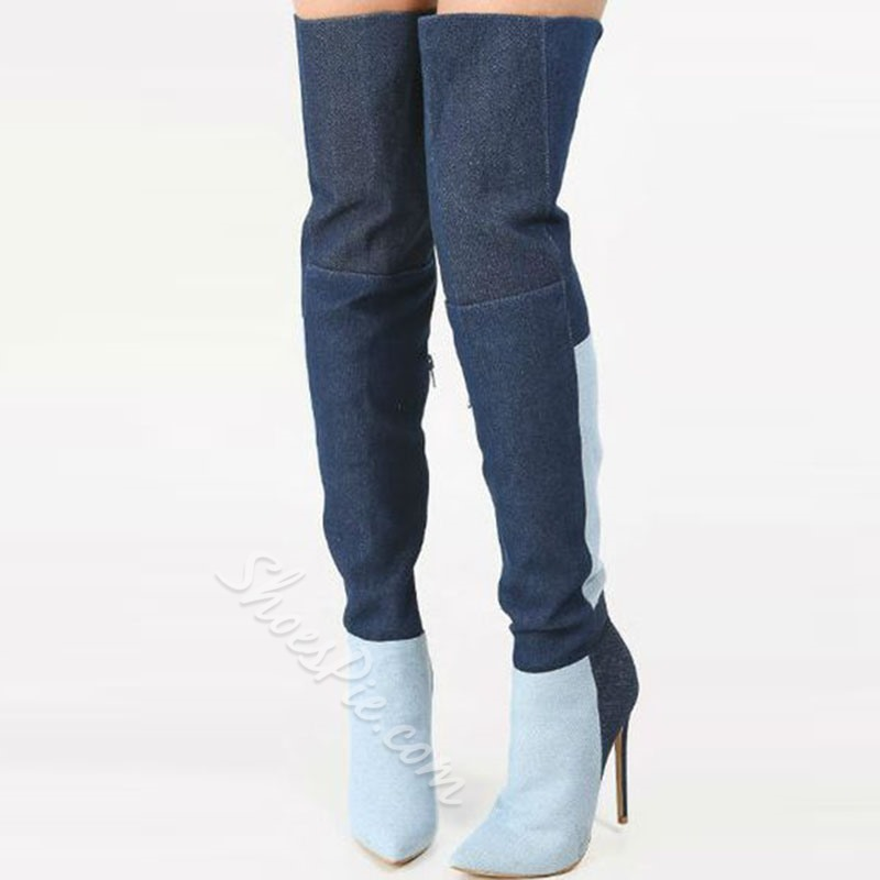 Shoespie Stylish Contrast Color Over the Knee Denim Boots