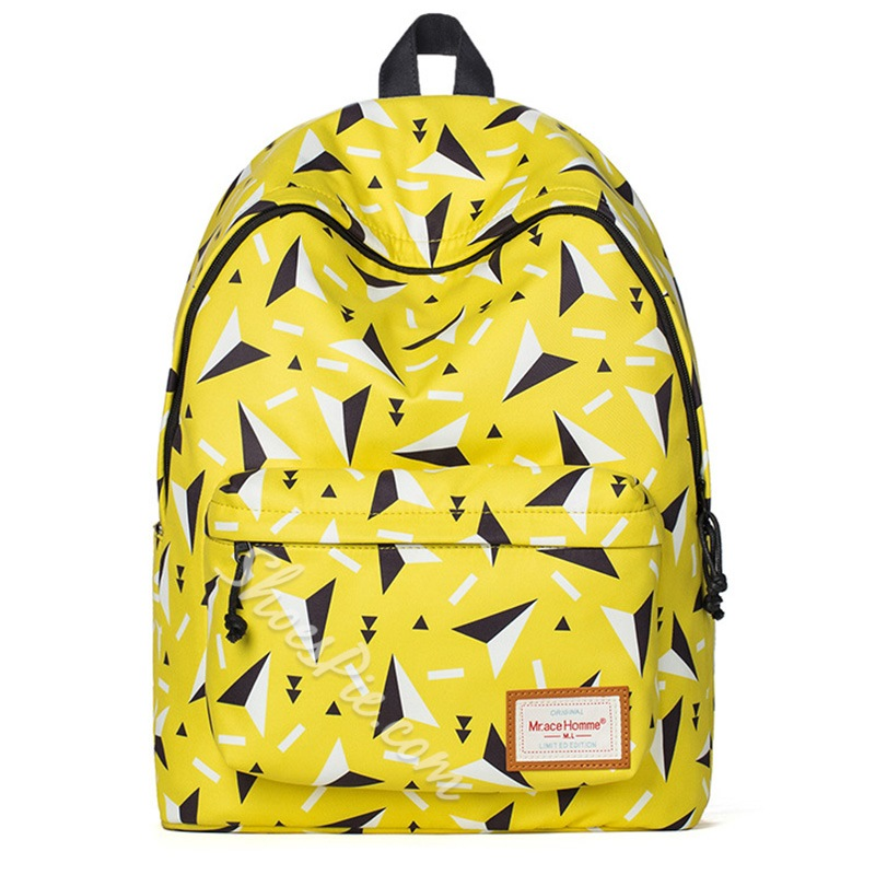 Shoespie Yellow Geometric Print Backpack