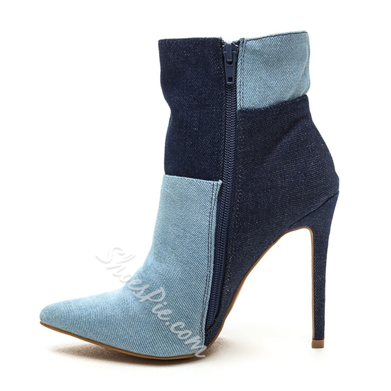 Shoespie Trendy Contrast Color Stiletto Heel Denim Boots