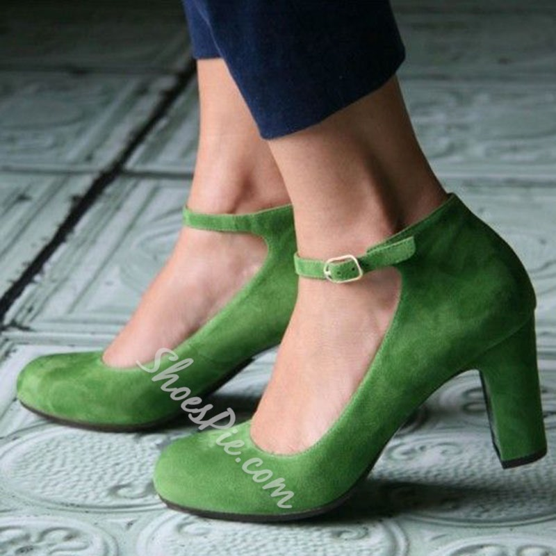 Shoespie Grannie Chic Retro Greenery Chunky Heel Pumps