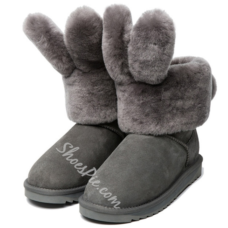 Shoespie Cute Furry Rabbit Snow Boots