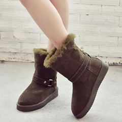 Shoespie Chic Solid Color Ankle Buckle Flat Snow Boots